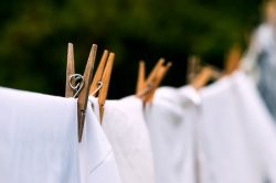 50989064 - eco-friendly washing line white laundry drying outdoors