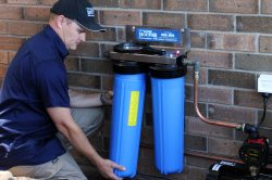 Changing a rainwater filter cartridge