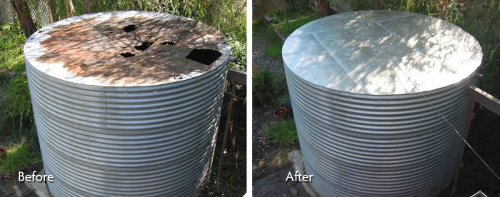 Tank Roofing Repair - before and after