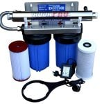 twin cartridge 10 x 4.5 filter system with Aquapro 6gpm U.V
