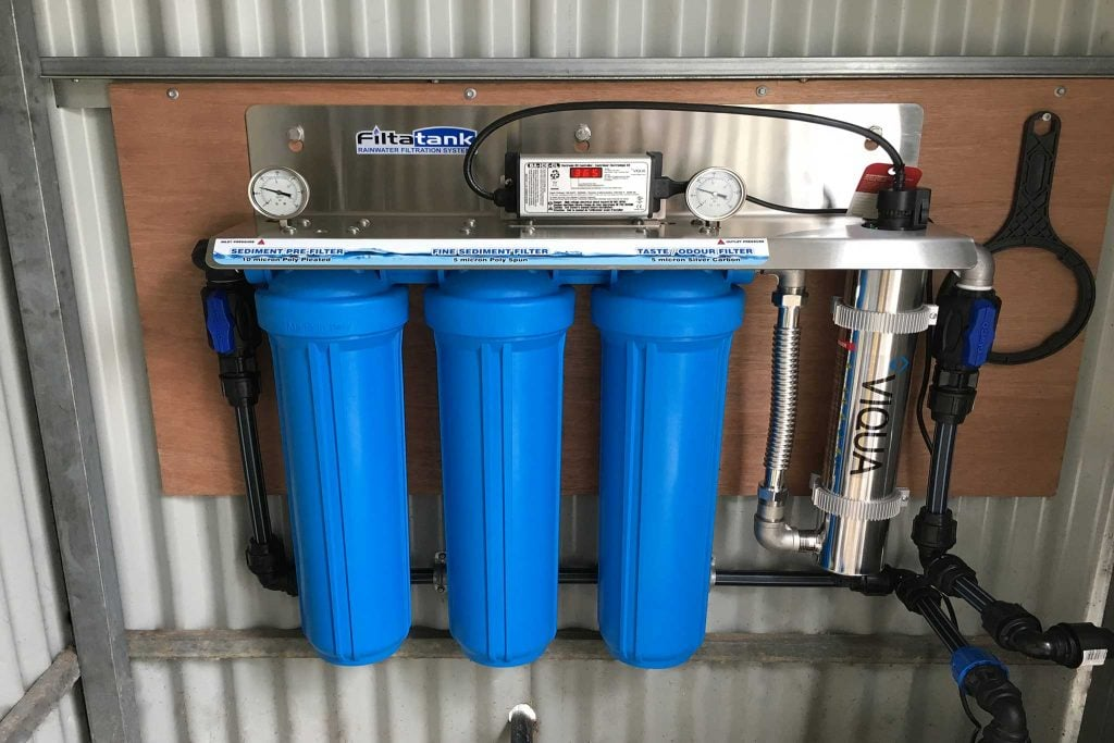 Triple Cartridge Wall Mounted Rainwater Filtration System