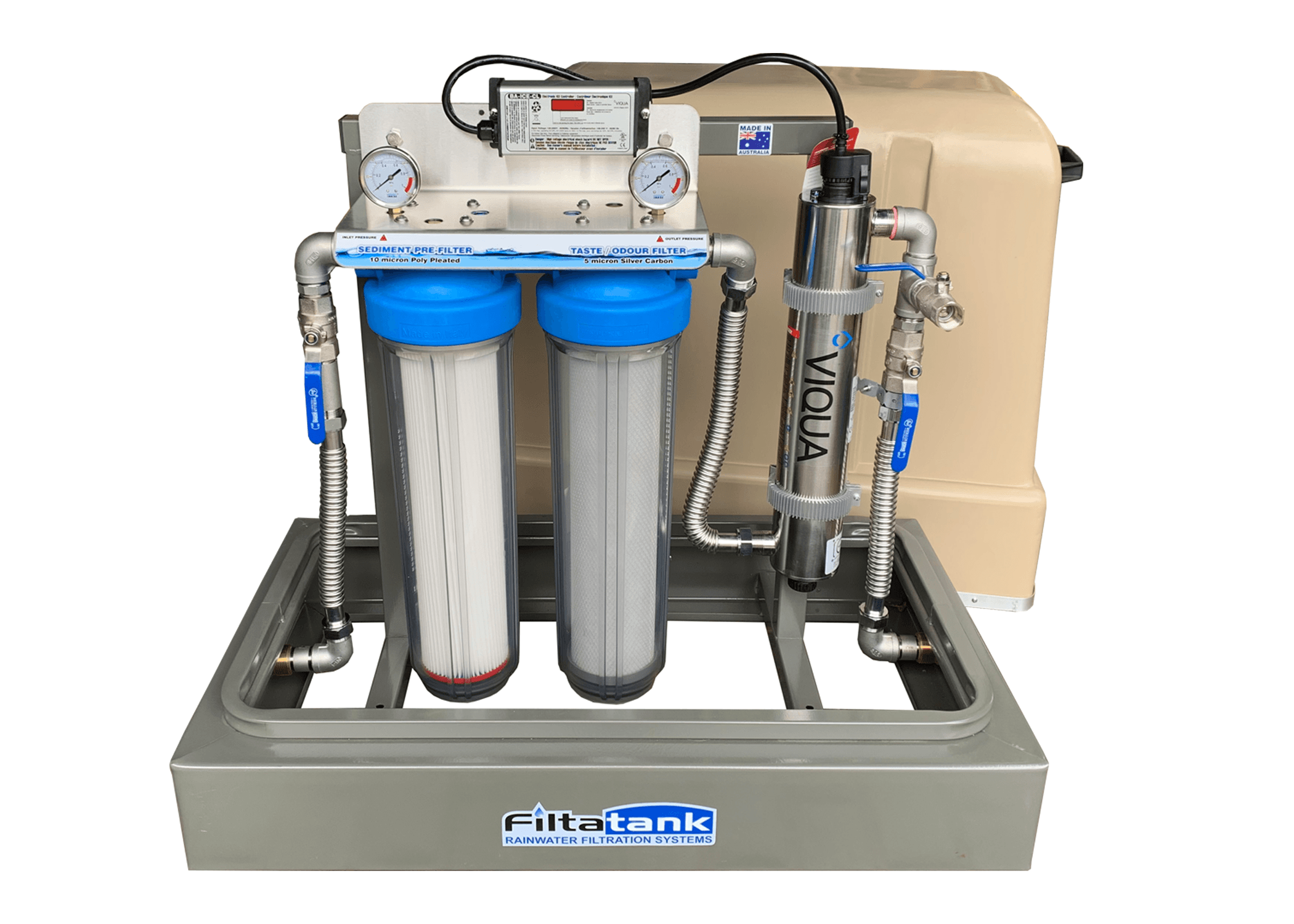 Twin Free Standing Rainwater Filtration System With U V