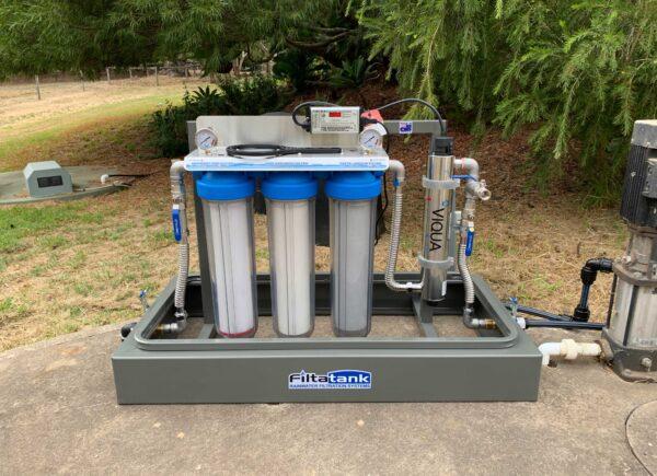 Triple-cartridge-free-standing-rainwater-filtration-sysem-with-UV-sterilisation-installed