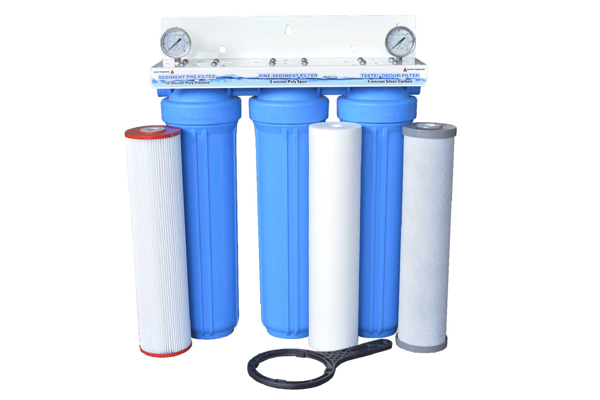 Triple cartridge 20 x 4 5 whole house rainwater for Kit filtration